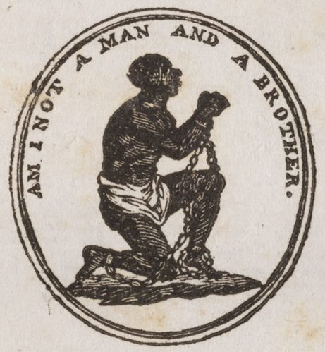 Artwork from the famous campaigning medallion manufactured by Abolition supporter Josiah Wedgwood at his own expense