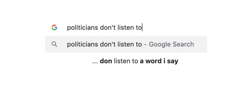 Politicians don't listen to a word I say